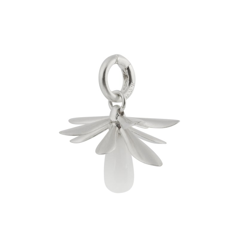 Couture Lilac White Jade Charm in Silver