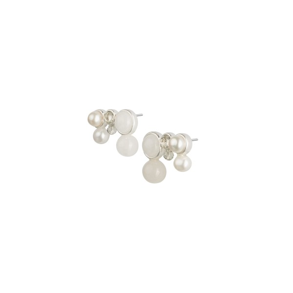 Fairytale Snow Fairy Ear Studs with Pearl and White Jade in Silver
