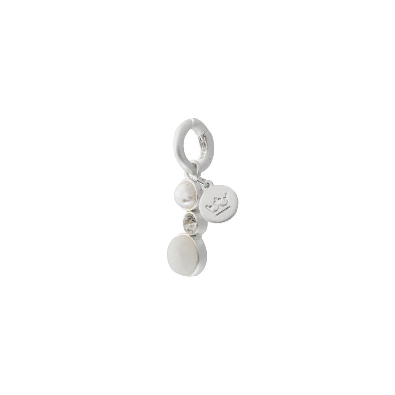 Fairytale Winter Spruce Charm with White Jade and Pearl