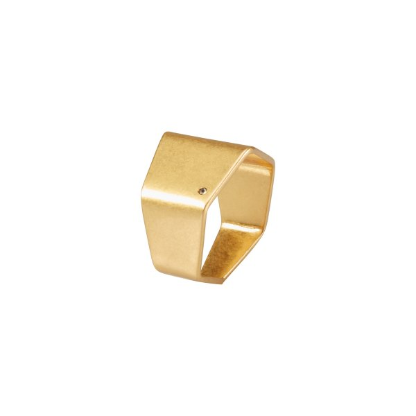 Shadow Cigar Ring in Gold